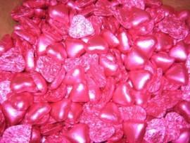 PINK MILK CHOCOLATE HEARTS 1KG