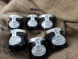 6 X MINI RASPBERRY JAMS BY WILKIN & SONS IMPORTED FROM UK